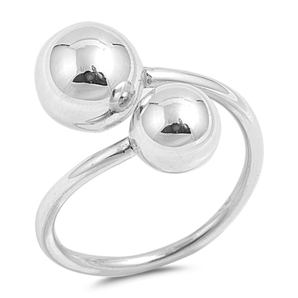 8mm Bypass Sideways Ball Ring 925 Sterling Silver Simple Plain High Polish Ball Ring Fashion Jewelry Gift Celebrity Inspired Jewelry - Blue Apple Jewelry