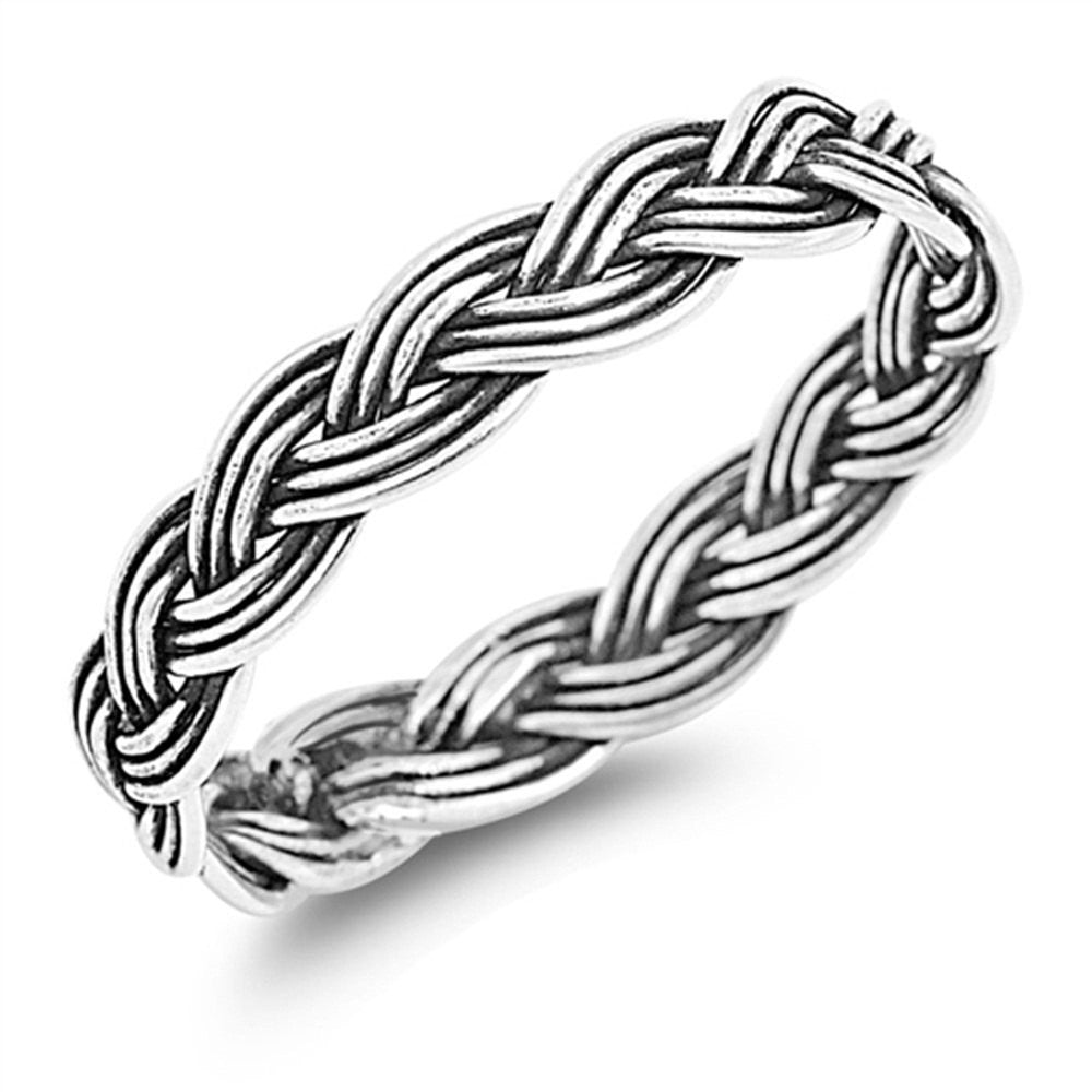 4mm Twisted Rope Braided Band Ring Black Oxidized Men Women Band Ring Solid 925 Sterling Silver His Her Wedding Anniversary Band Ring - Blue Apple Jewelry