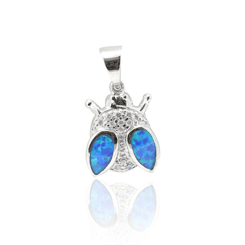 "0.6"" Lady Bug Pendant Lab Blue Opal Inlay Round Clear CZ Solid 925 Sterling Silver Lady Bug Charm Lady Bug Jewelry Lady Bug Good luck Gift - Blue Apple Jewelry"
