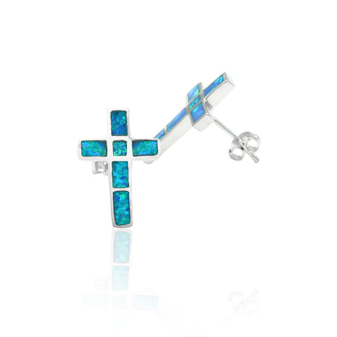 17mm Cross Trendy Stud Post Earrings Solid 925 Sterling Silver Lab Created Australian Blue Opal Inlay Cross Earring Religious Gift - Blue Apple Jewelry