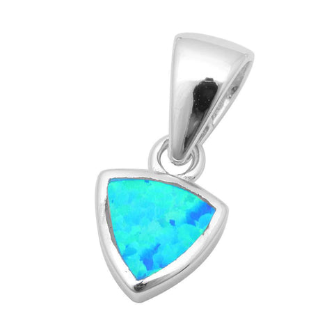 3D Pendant Trillion Shape Pendant Charm Solid 925 Sterling Silver Solitaire Lab Blue Opal Triangle Pendant - Blue Apple Jewelry