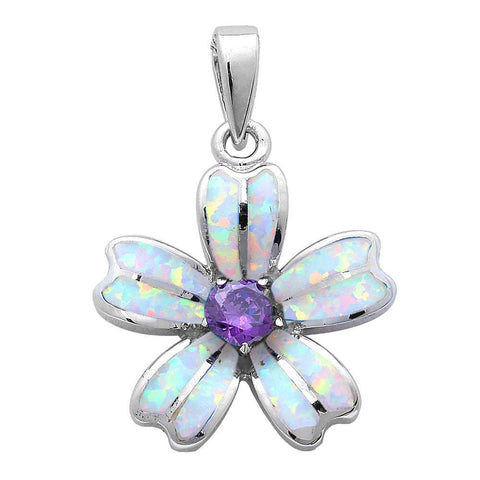 Flower Pendant Flower Charm Lab White Opal Flower Solid 925 Sterling Silver Round Purple Amethyst Fashion - Blue Apple Jewelry