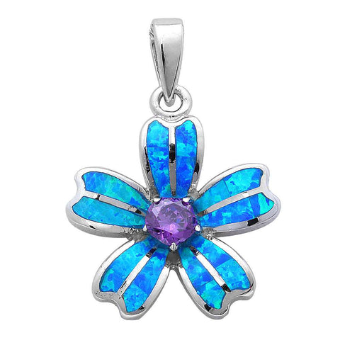 Flower Pendant Flower Charm Lab Blue Opal Flower Solid 925 Sterling Silver Round Purple Amethyst Fashion - Blue Apple Jewelry