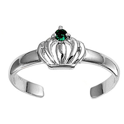 6mm Silver Toe Ring Crown Design  in Solid 925 Sterling Round Emerald CZ Plain Toe Ring free size Ladies Jewelry Fashion Toe Ring Gift - Blue Apple Jewelry