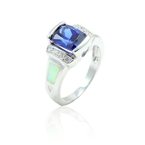 1.50 Carat Emerald Cut Blue Sapphire Round Clear CZ Accent Lab White Opal Solid 925 Sterling Silver Wedding Engagement Ring Heart