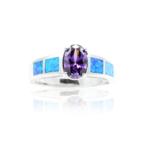 1.50CT Oval Cut Purple Amethyst Lab Blue Opal Inlay Accent Solid 925 Sterling Silver Solitaire Wedding Engagement Anniversary Ring