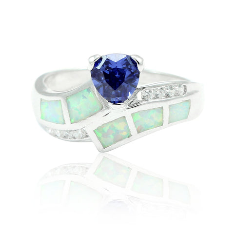 1.00CT Synthetic Trillion Cut Tanzanite Lab White Opal Round Clear Russian Diamond CZ Solitaire Wedding Engagement Ring 925 Sterling Silver - Blue Apple Jewelry