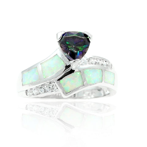 1.00CT Synthetic Trillion Cut Mystic Rainbow Topaz Lab White Opal Round Clear CZ Solitaire Wedding Engagement Ring 925 Sterling Silver - Blue Apple Jewelry