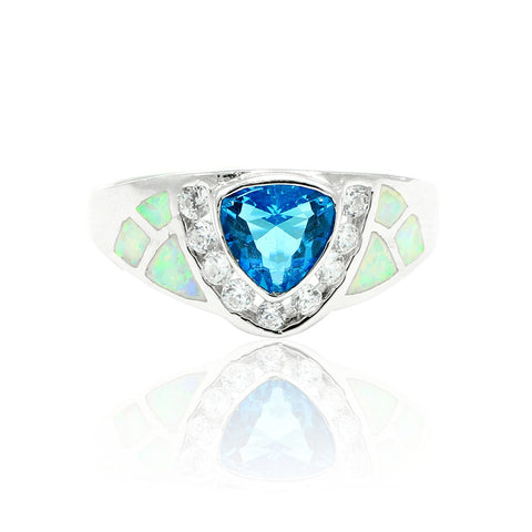 1.00CT Trillion Cut Swiss Blue Topaz Blue Zircon CZ Lab White Opal Round Clear CZ Solitaire Wedding Engagement Ring 925 Sterling Silver - Blue Apple Jewelry