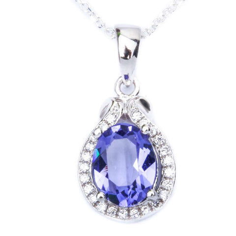 0.75 Carat Oval Cut Tanzanite Pendant Charm Round Clear Diamond CZ Halo Pendant Solid 925 Sterling Silver Pendant For Necklace Charm - Blue Apple Jewelry