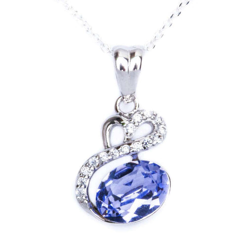 1.00 Carat Oval Cut Tanzanite Pendant Charm Round Clear Diamond CZ Designer Pendant Solid 925 Sterling Silver Pendant For Necklace Charm - Blue Apple Jewelry