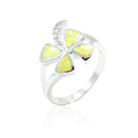 14mm Plumeria Solid 925 Sterling Silver Lab Created Yellow Fire Opal Round Clear CZ Plumeria Flower Split Shank Ring Plumeria Lovers Gift - Blue Apple Jewelry