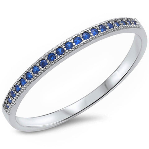 1.5mm Thin Half Eternity Wedding Engagement Band For Ring Stackable Solid 925 Sterling Silver Round Deep Blue Sapphire Half Eternity