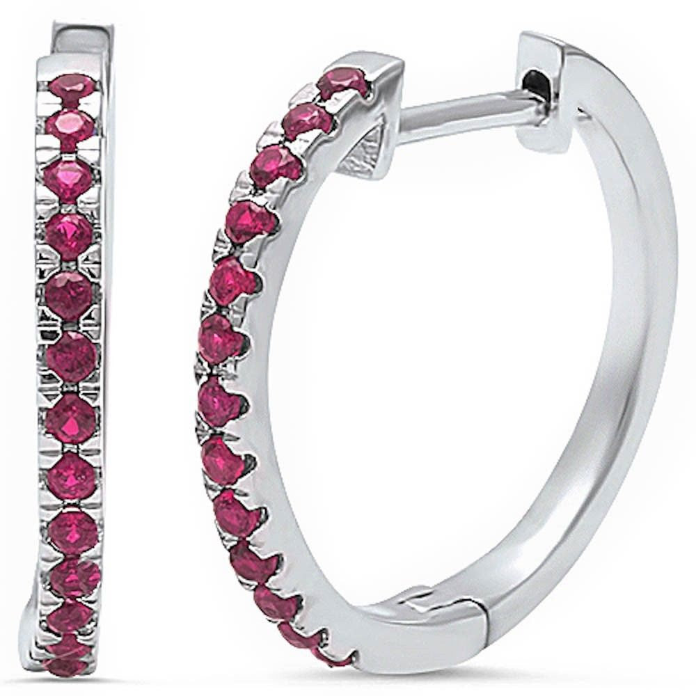 New Design 20mm Full Hoop Earrings Solid 925 Sterling Silver Round Red Ruby CZ Eternity Hoop Earring July Stone - Blue Apple Jewelry