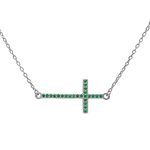 "Sideways Cross 18"" Necklace Solid 925 Sterling Silver Round Emerald Green May Stone 16""+2"" Extension - Blue Apple Jewelry"