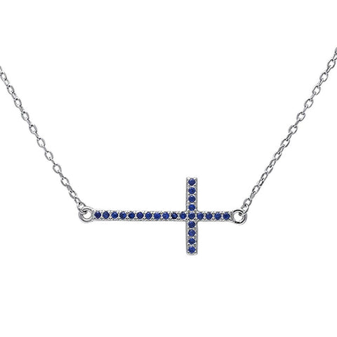 "Sideways Cross 18"" Necklace Solid 925 Sterling Silver Round Deep Blue Sapphire September Stone 16""+2"" Extension - Blue Apple Jewelry"