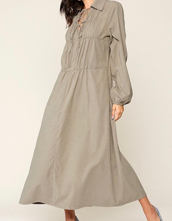 Poplin Taupe Maxi Dress