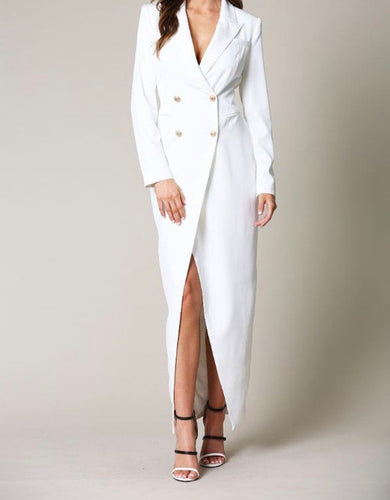 White Maxi Blazer Dress