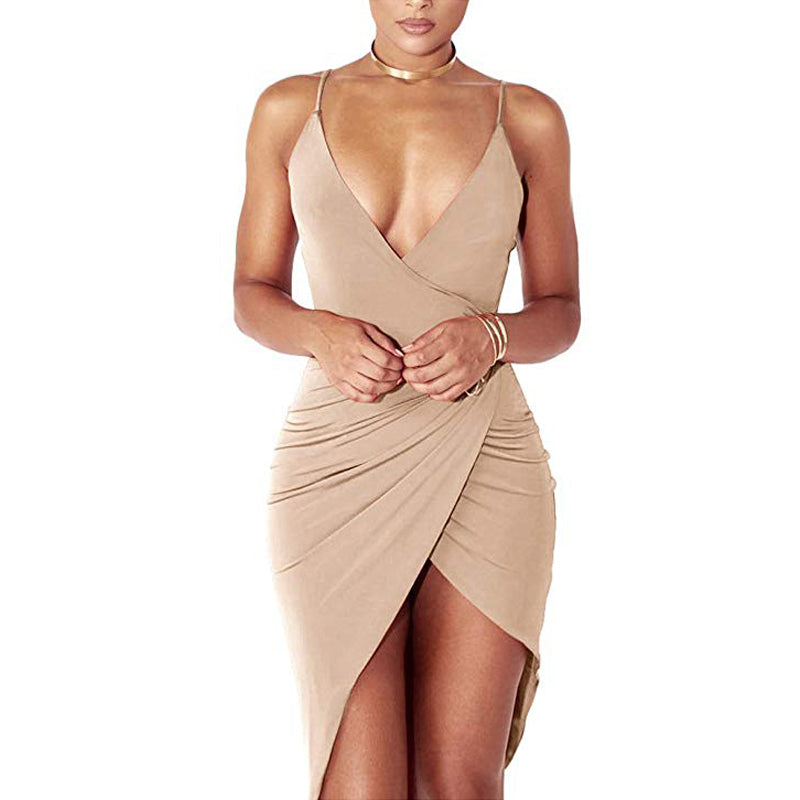 c42a2bf9d325 Sexy Deep V Neck Backless Slit Mini Dress Clubwear – Exclusive Crazy ...