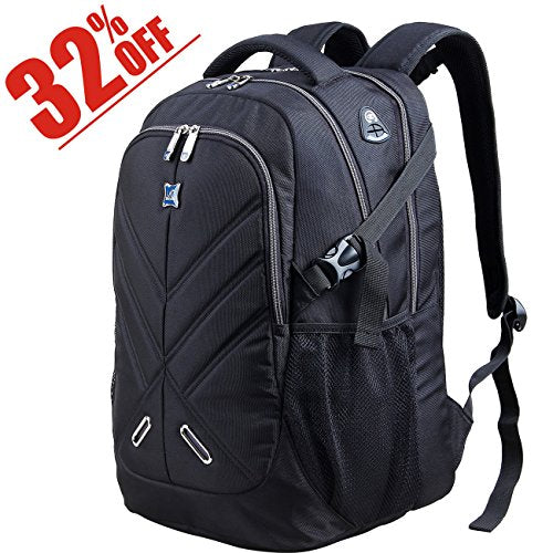 9e5cba39e5 Backpack for Men and Women Fit 17 Inches All 15.6 Inches Laptops Waterproof  Shockproof OUTJOY School bag Travel Bag Book bag Business Work Daypack Black