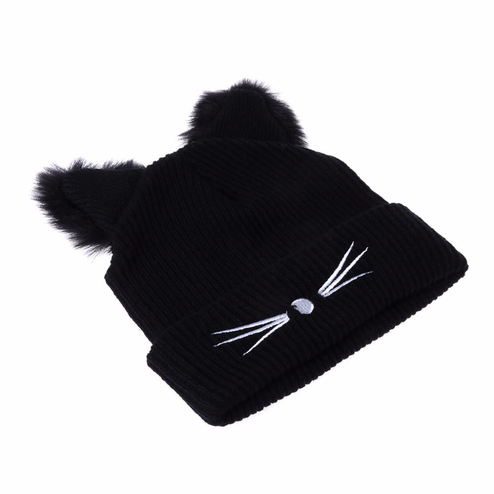 7821700b69af3 Cat Ears Women Hat Knitted