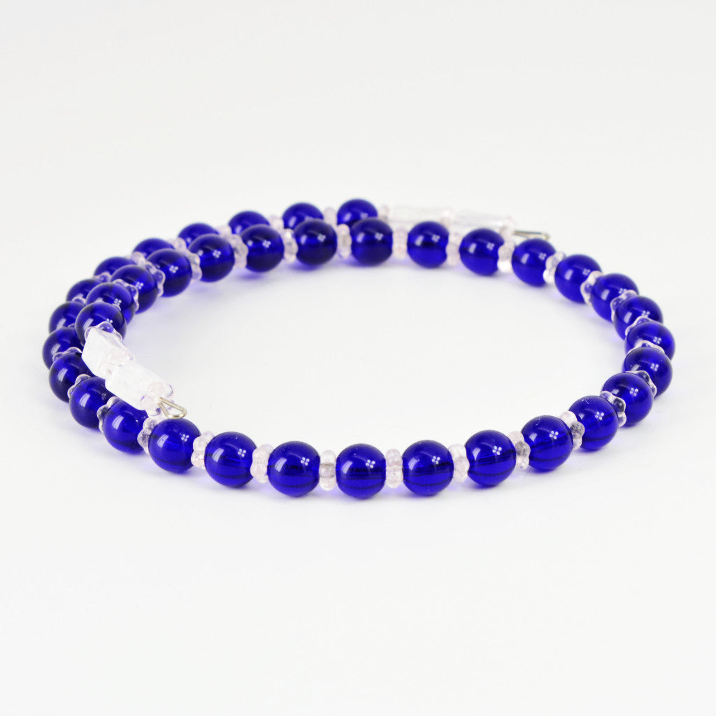 Buy Bright Translucent Blue and Light Pink Floral Beaded Memory Wire ...