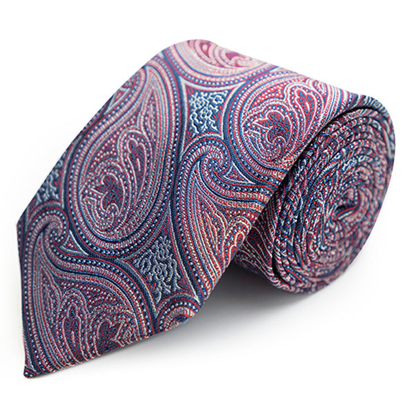 Matte paisley tie in Red