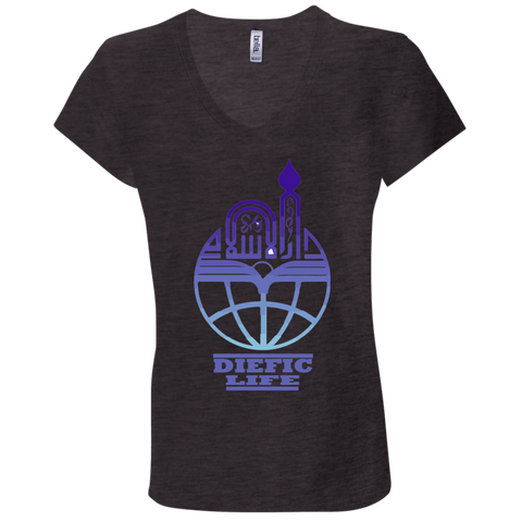 Deific Life on Earth 1 + Canvas Ladies' Jersey V-Neck T-Shirt
