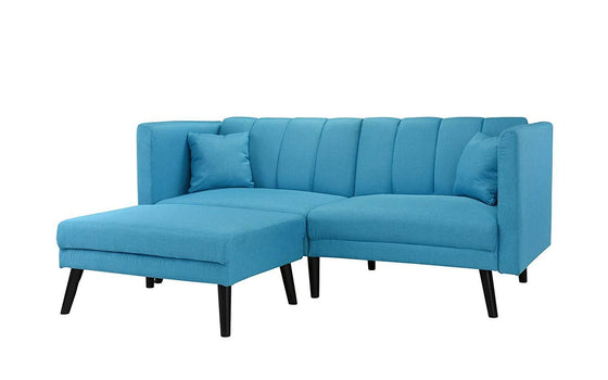 New Century® Blue Modern Linen Living Room Sofa Futon