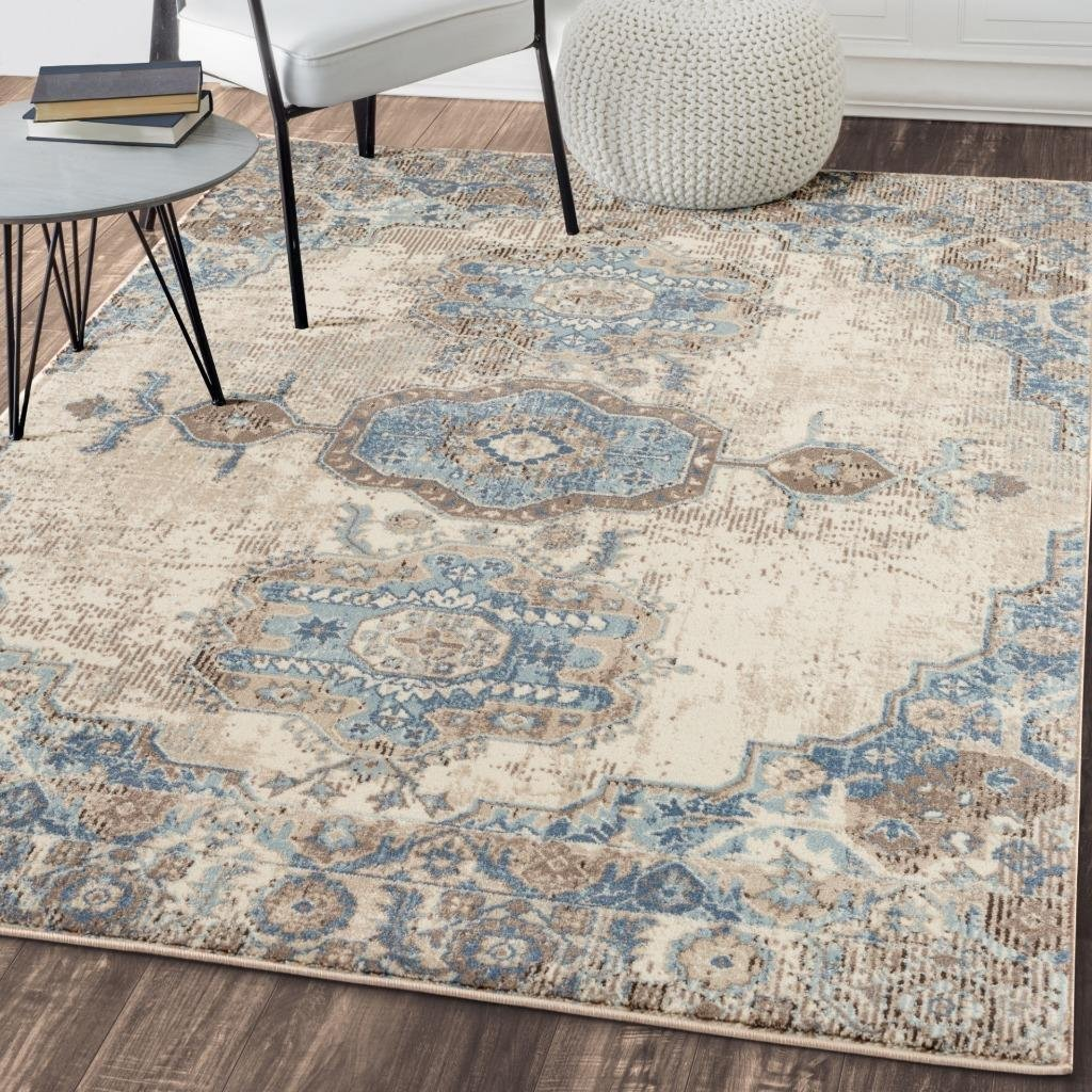 Royalty Ivory Blue Distressed Persian Oriental Rug Area Rugs