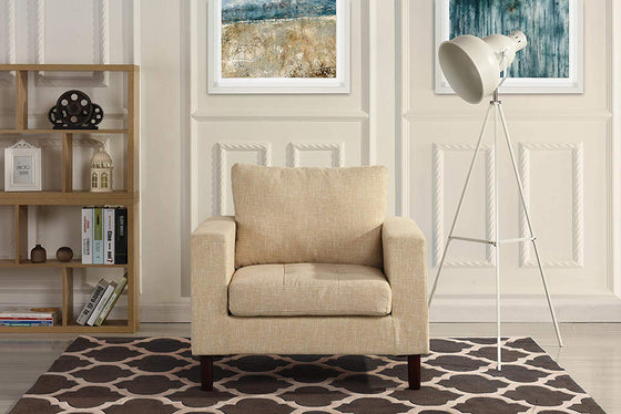 New Century® Beige Modern Tufted Linen Fabric Living Room Arm Chair