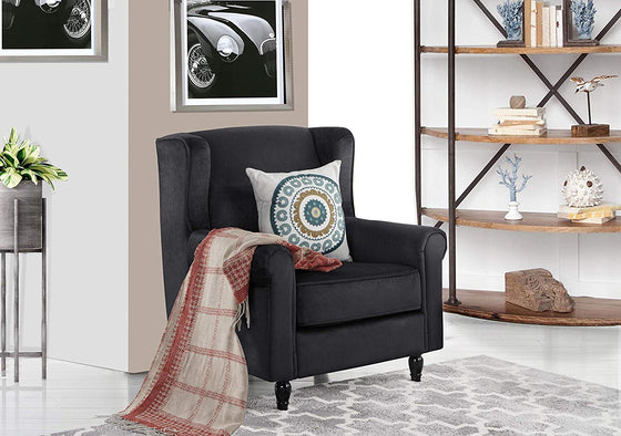 New Century® Black Classic Scroll Arm Velvet Accent Chair With Nailheads