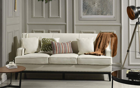 New Century® White Modern Faux Leather Sofa With Nailhead Trim
