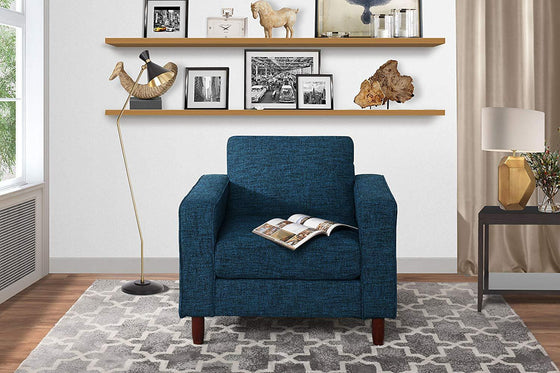 New Century® Blue Modern Tufted Linen Fabric Living Room Arm Chair
