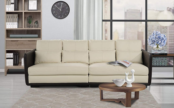 New Century® Beige Faux Leather Classic (2) Pieces Convertible Sofa