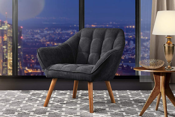 New Century® Dark Gray Linen Tufted Arm Accent Chair