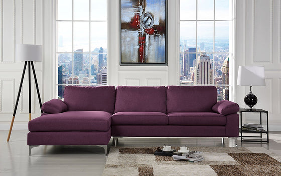 New Century® Purple Large Linen Sectional Sofa L Shape Couch