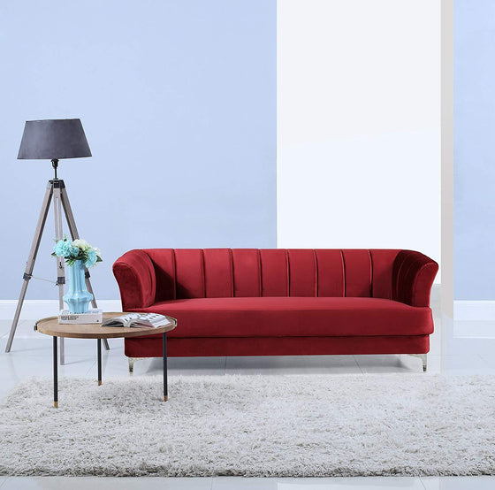New Century® Red Living Room Velvet Sofa