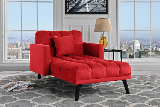 New Century® Red Chaise Sleeper Single Seater