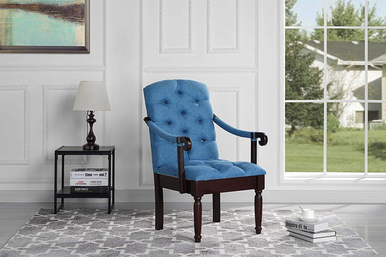 New Century® Blue Classic Tufted Linen Upholstered Accent Dining Chair