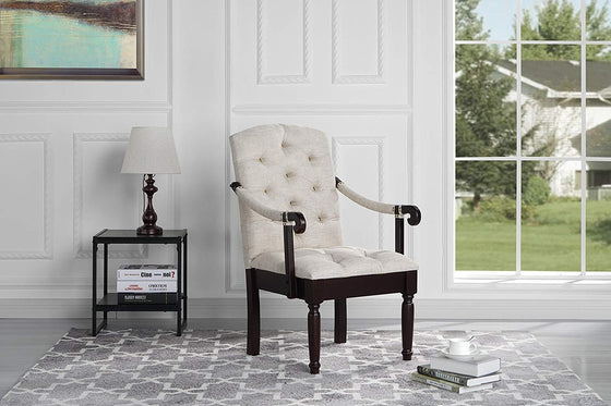 New Century® Beige Classic Tufted Linen Upholstered Accent Dining Chair
