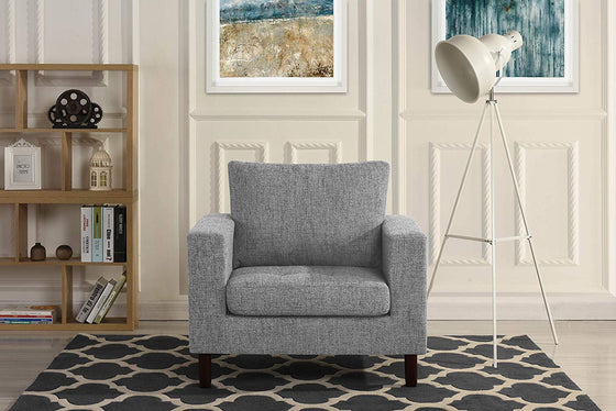 New Century® Gray Modern Tufted Linen Fabric Living Room Arm Chair