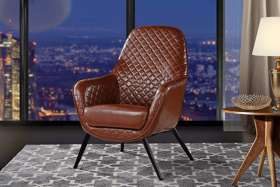 New Century® Light Brown Faux Leather With Diamond Stitching Accent Chair