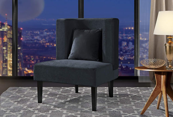 New Century® Dark Gray Upholstered Armless Velvet Chairs With Back Cushion