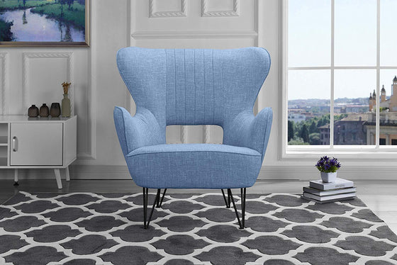 New Century® Light Blue Linen Fabric Arm Living Room Accent Chair