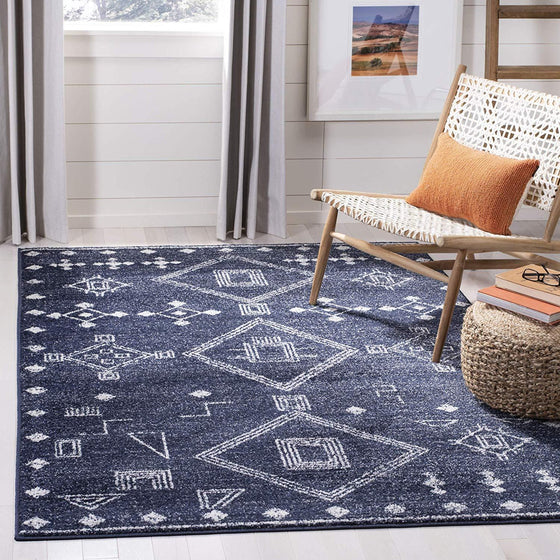 0108 Navy Blue Moroccan Contemporary Area Rugs
