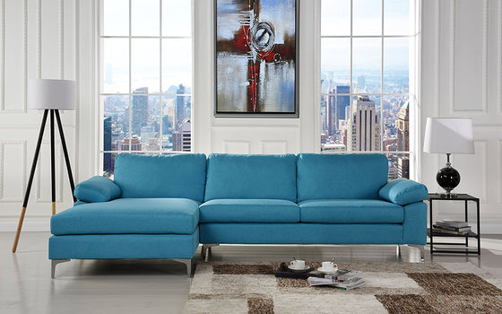 New Century® Blue Large Linen Sectional Sofa L Shape Couch