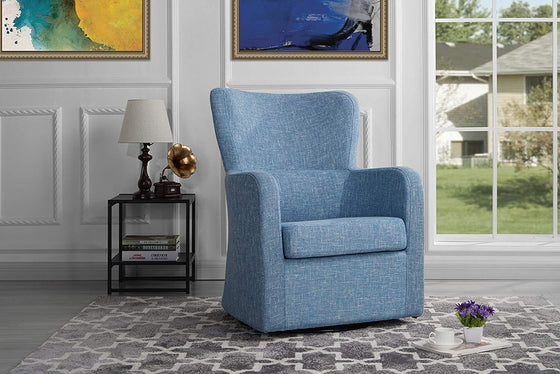New Century® Light Blue Linen Modern Swivel Arm Chair