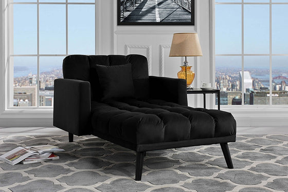New Century® Black Chaise Sleeper Single Seater