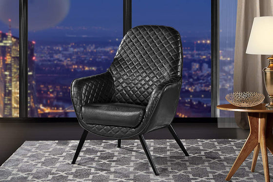 New Century® Black Faux Leather With Diamond Stitching Accent Chair